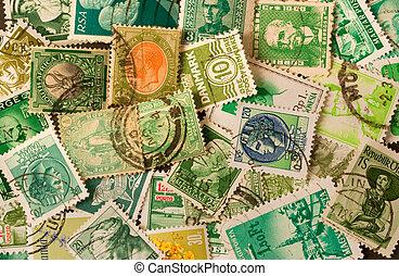 samling, i, grønne, gamle, portoer frimærker