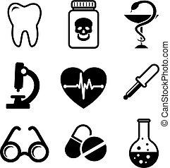 samling, i, medicinske ikoner