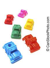 samling, i, plast legetøj, bilerne