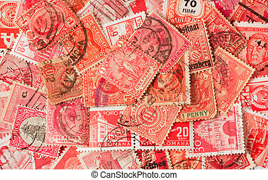 samling, i, rød, gamle, portoer frimærker