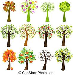 samling, i, træer