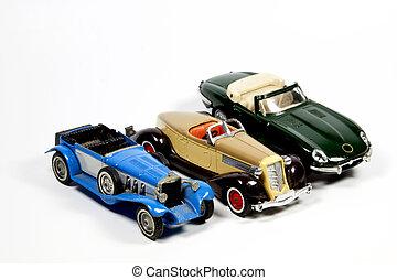 samling, i, tre, legetøj modeller, bilerne, på hvide
