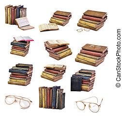 samling, i, vinhøst, antik, bøger, og, glas, isoleret, på hvide