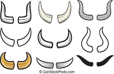 samling, set), (horn, horn