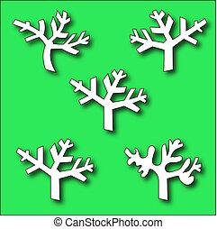 samling, silhuetter, branch, træer