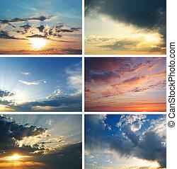 samling, solnedgang