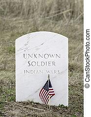 samll, americal, flaggen, klappe, wind, an, a, militärischer friedhof