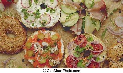 samlon, bagel, divers, petite maison, circulaire, hummus, ...