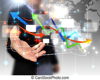 sammanhängande, holdingen, affärsman, värld