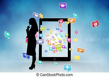 sammansatt, applikationer, avbild, dator