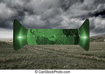 sammansatt avbild, abstrakt, grön värld, avskärma
