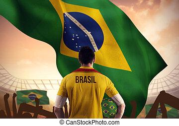 sammansatt avbild, av, brasil, fotboll