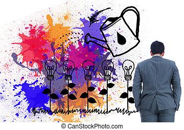 sammansatt avbild, av, entreprenör stå