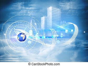 sammansatt avbild, av, global, teknologi, bakgrund