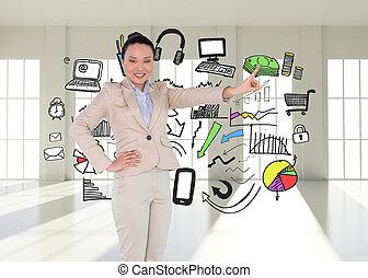 sammansatt avbild, av, le, asiat, affärskvinna, pekande
