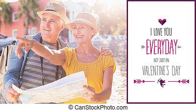 sammansatt avbild, av, lycklig, turist, par, användande, karta, i staden