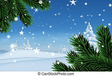 sammansatt avbild, av, snö, stjärnfall