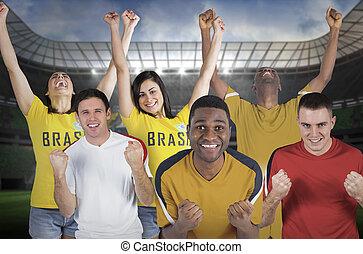 sammansatt, avbild, fotboll, olika, fläktar