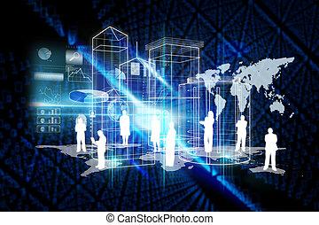 sammansatt, avbild,  global, teknologi, bakgrund