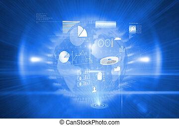sammansatt,  data, avbild, teknologi, bakgrund