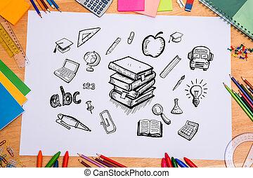 sammansatt,  doodles, avbild, Utbildning
