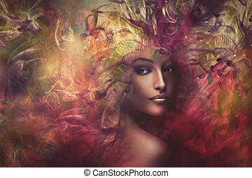 sammansatt, fantasi, kvinna