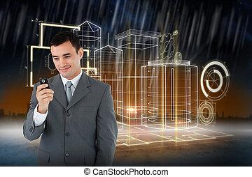 sammansatt, mobiltelefon, hans, se, le, affärsman, avbild