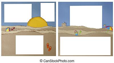 sammelalbum, seite, plan, von, sandstrand