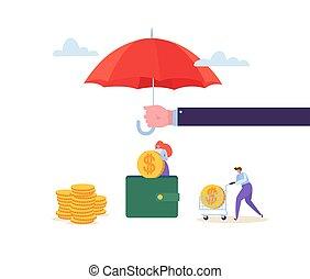 sammeln, goldenes, begriff, finanziell, charaktere, schutz, geld, aus, geldmünzen, brieftasche., agent, investment., sicherheit, abbildung, besitz, savings., vektor, versicherung, schirm