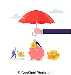 sammeln, goldenes, frau, begriff, finanziell, bank., schutz, zeichen, aus, geldmünzen, geld., agent, investment., sicherheit, abbildung, halten schirm, vektor, versicherung, schweinchen