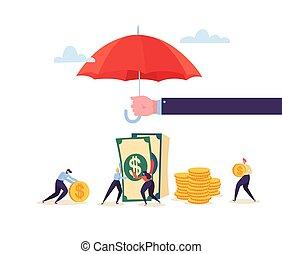 sammeln, goldenes, münzen., begriff, schirm, besitz, schutz, geld, aus, agent, investment., vektor, sicherheit, abbildung, charaktere, savings., finanziell, versicherung
