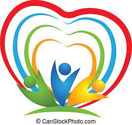 sammenhængee, hjerte, folk, logo