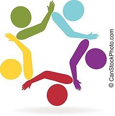 sammenhængee, logo, vektor, teamwork