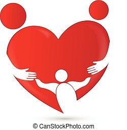 sammenslutning, hjerte form, familie, logo