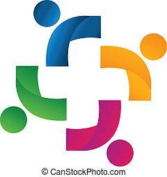 sammenslutning, ledsagere, hold, logo
