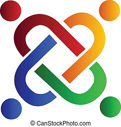 sammenslutning, logo, hold