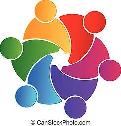 sammenslutning, logo, teamwork, folk