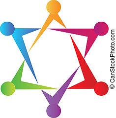 sammenslutning, teamwork, folk, stjerne, logo