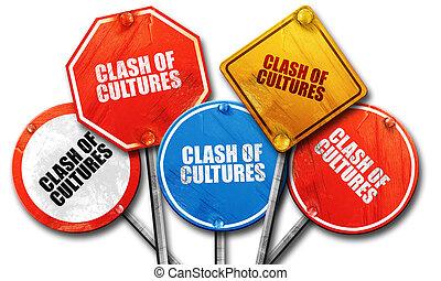 sammenstød, i, kulturer, 3, gengivelse, grov, gade tegn, samling