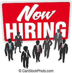 sammenvokse, firma, arbejde, tegn, hiring, hold, nu