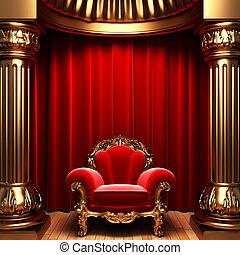 sammet, guld, ridåer, stol, kolonner, röd