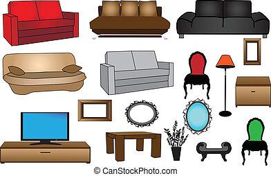sammlung, abbildung, furniture-vector