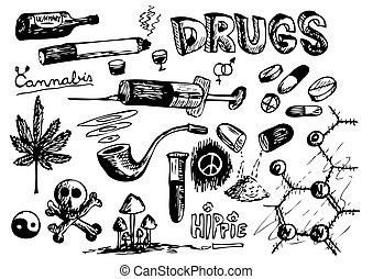 sammlung, drogen