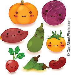 sammlung, fruechte, gemüse