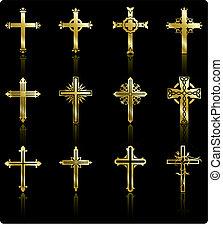 sammlung, goldenes, design, kreuz, religiöses