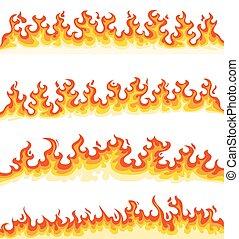 sammlung, karikatur, feuerflammen
