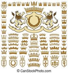 sammlung, ritterwappen, kämme, kronen