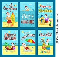sammlung, vektor, fröhlich, karten, feiertag, weihnachten