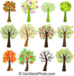 sammlung, von, bäume