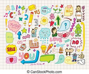 sammlung, von, doodles(hand, draw)